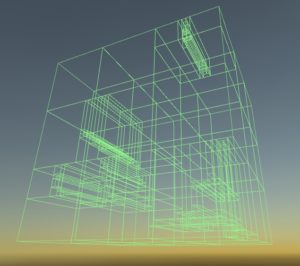 A collision mesh for a series of chunks